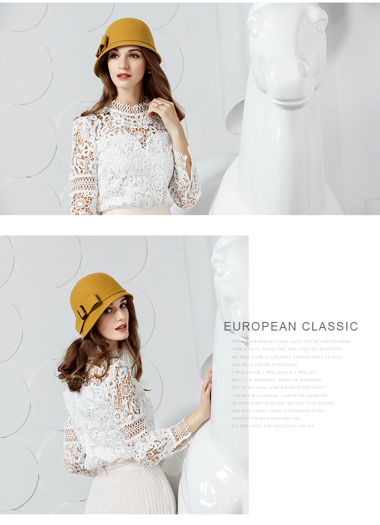 FS Vintage Black Wool Felt Cloche Hat With Bowknot Wide Brim Bowler ... fd60ca9e591d