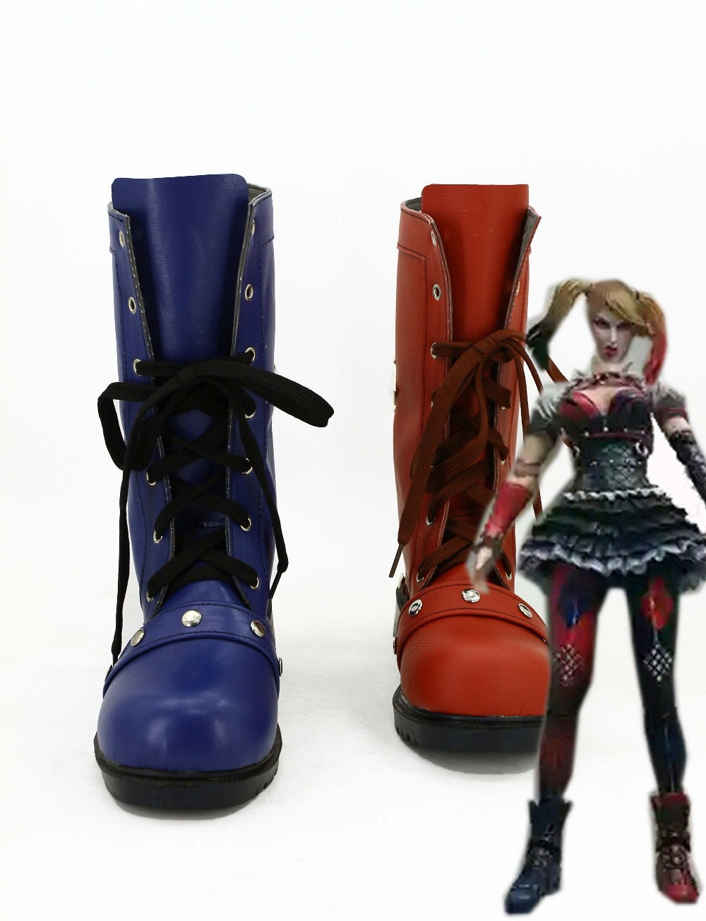 0474fe37a16f57 Batman Arkham Knight Harley Quinn Movie Halloween Cosplay Costumes Shoes  Boots Custom Made For Adult Women Euro Size-in Shoes from Novelty   Special  Use on ...