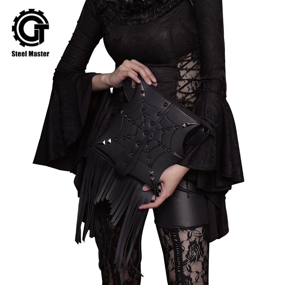 Fashion Gothic Steampunk Retro Rock Rivet Tassel Messenger Shoulder Bag Vintage Women Phone Case Holder Black PU Leather Handbag цены