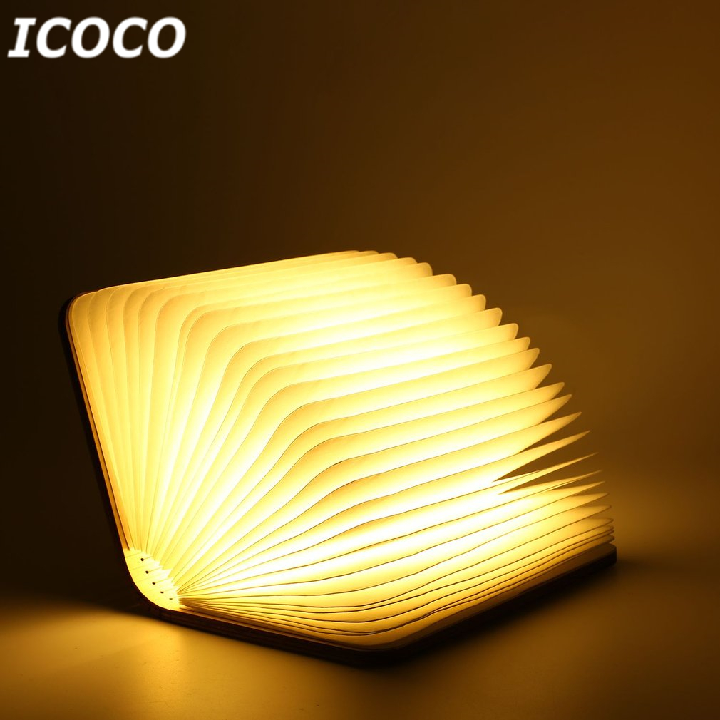 ICOCO USB Rechargeable LED Magnetic Foldable Wooden Book Lamp Night Light Desk Lamp for Christmas Gift Home Decor (S/M/L Size) icoco hot sale usb rechargeable led foldable wooden book shape night light desk lamp for home bedroom decor birthday xmas gift
