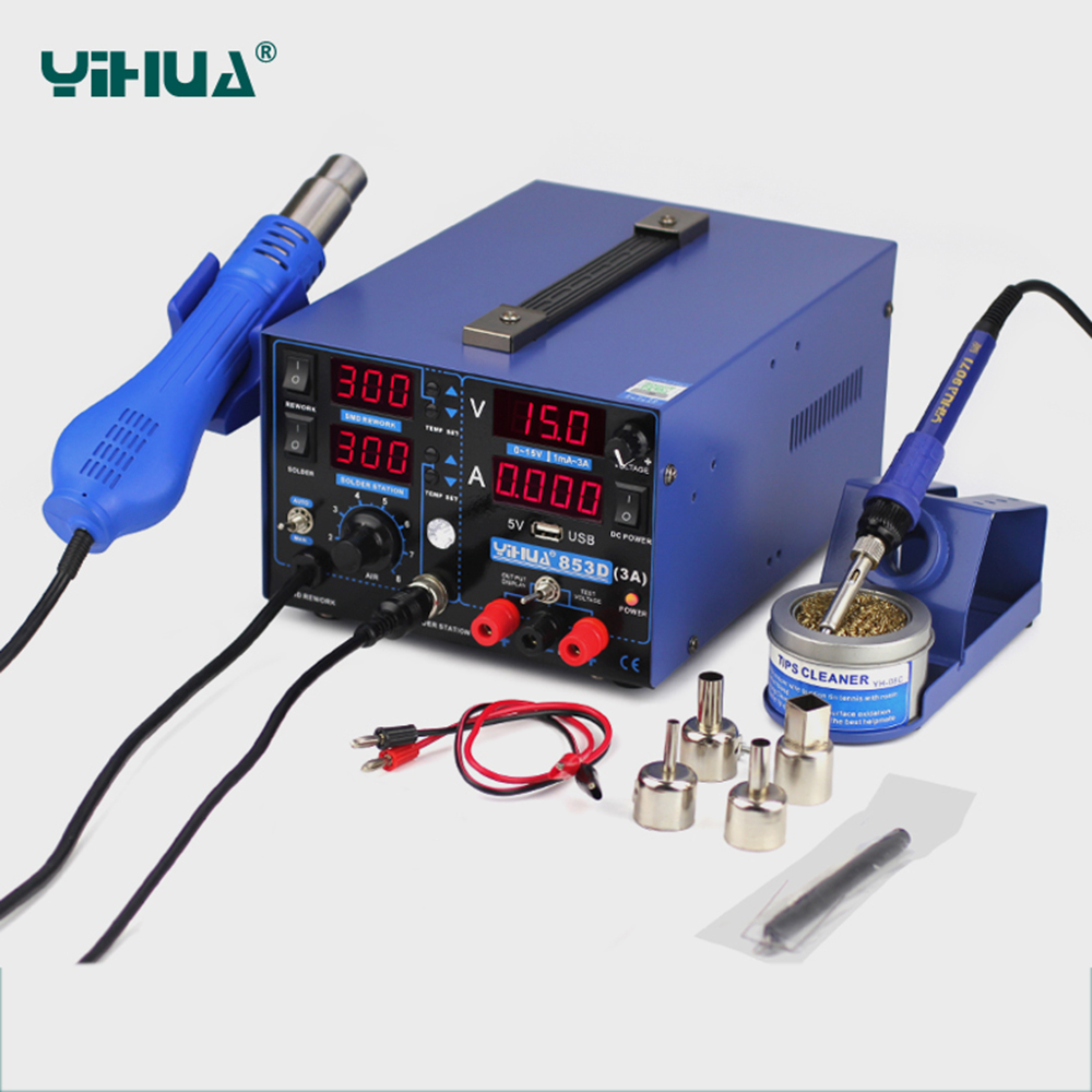 YIHUA 853D 3A USB Soldering Station Hot Air Gun 3 In 1 SMD DC Power Supply Rework Stations 110V 220V EU US PLUG Solder Station