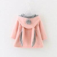 Cute Rabbit Ears Hooded Baby Girls Coat New 2017 Autumn Winter Tops Kids Warm Jacket Outerwear