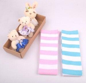 Image 4 - อะนิเมะสีฟ้าสีขาว/สีชมพูสีขาวกว้างStripesถุงเท้าเข่าน่ารักขนาดL/XLขายส่ง4คู่/ล็อต
