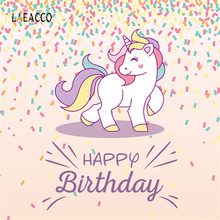 Laeacco Unicorn Party Baby Birthday Ribbons Pattern Photographic Background Customized Photography Backdrops For Photo Studio