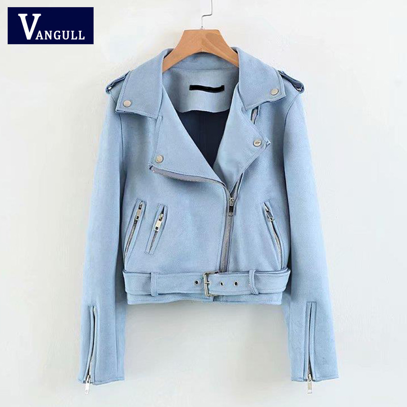 VANGULL   Suede   Jacket Women Faux   Leather   Pink Blue Sweet Short Jacket 2018 New Slim Fully Lined Soft Female Coat Epaulet Zipper