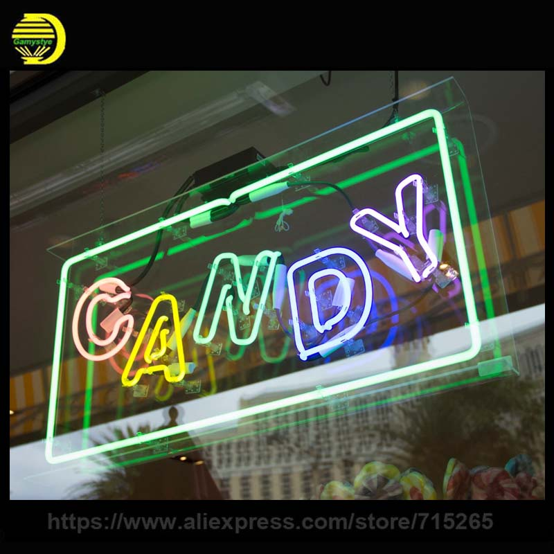 Neon Sign Candy Neon Bulb Sign Handcrafted Glass Tubes Decorate Shop Neon Light with A plastic Clear board Room outside Outdoor