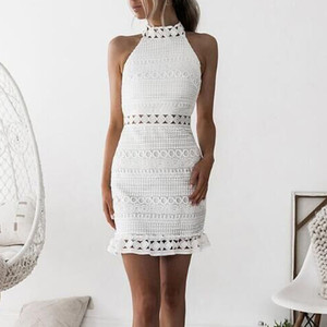 2019 Summer Womens Sexy Lace Turtleneck Empire White Dress Bodycon Cocktail Ladies Party Pencil Midi Bandage Dress Freeship N4