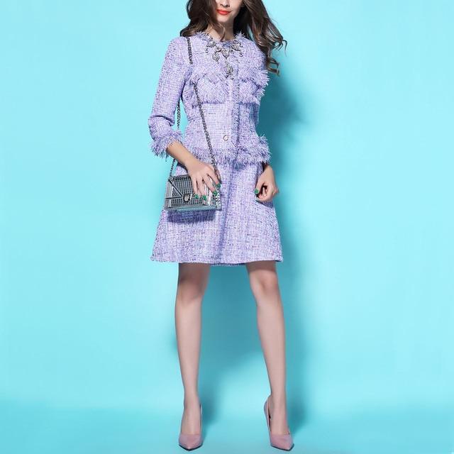 Spring / Autumn Fashion Luxury Tweed Women's Sets Elegant Ladies Tassel Jacket+ V-neck Sleeveless Vest Dress Female Dress Suits