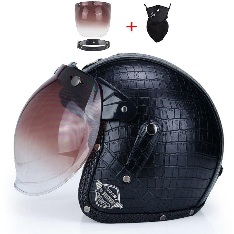 vintage 3 4 Leather Helmets Motorcycle Helmet open face Chopper Bike helmet motorcycle helmet moto motocros