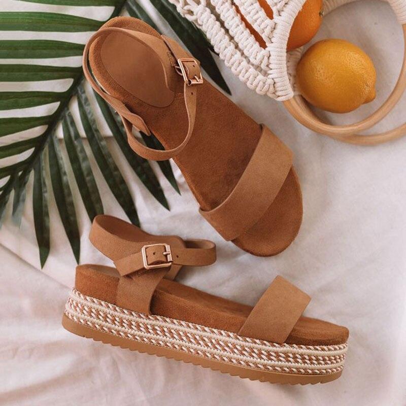 Women Shoes With Platform Sandals Straw Thick Bottom Ladies Sandals Peep Toe Beach Sandals Flat Belt Buckle Summer Shoes Woman