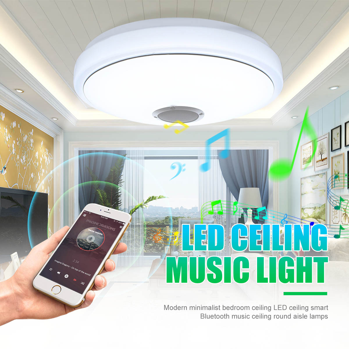24W Modern Acrylic LED Ceiling Light Bluetooth Speaker Music Player RGB Ceiling Lamp Lights for Living Room Bedroom Lighting 24w modern acrylic led ceiling light bluetooth speaker music player rgb ceiling lamp lights for living room bedroom lighting