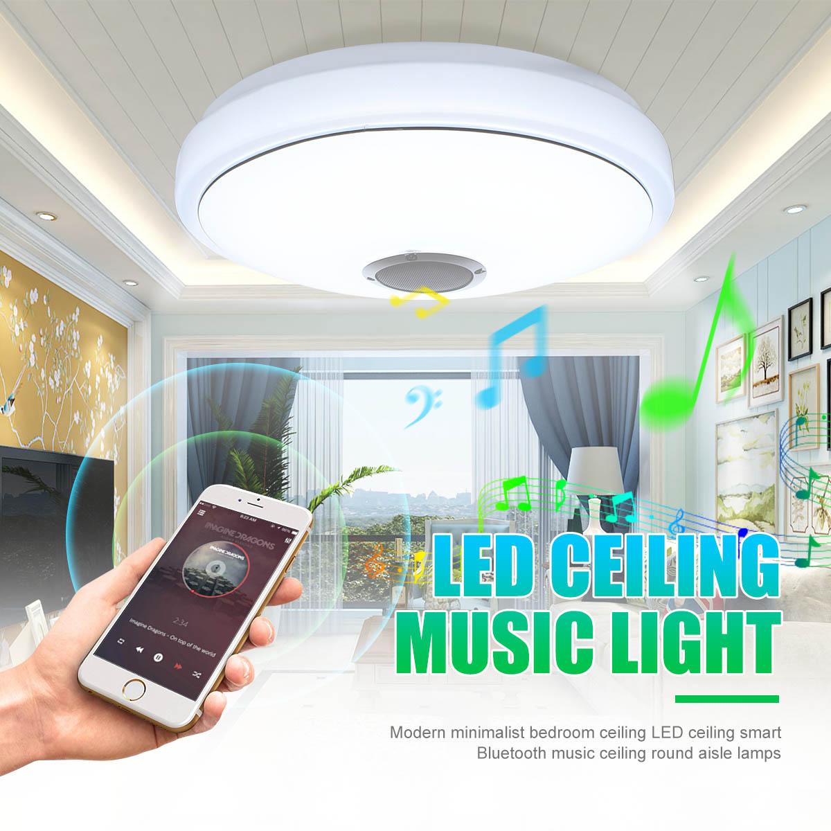 24W Modern Acrylic LED Ceiling Light Bluetooth Speaker Music Player RGB Ceiling Lamp Lights for Living Room Bedroom Lighting цена