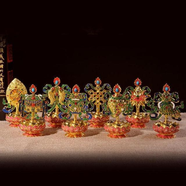 Eight auspicious ornaments, Tibetan Buddhism supplies, Talisman offerings, Tantra, buddha, CHATTRA, Rinchen Dug, 8pcs/ set~