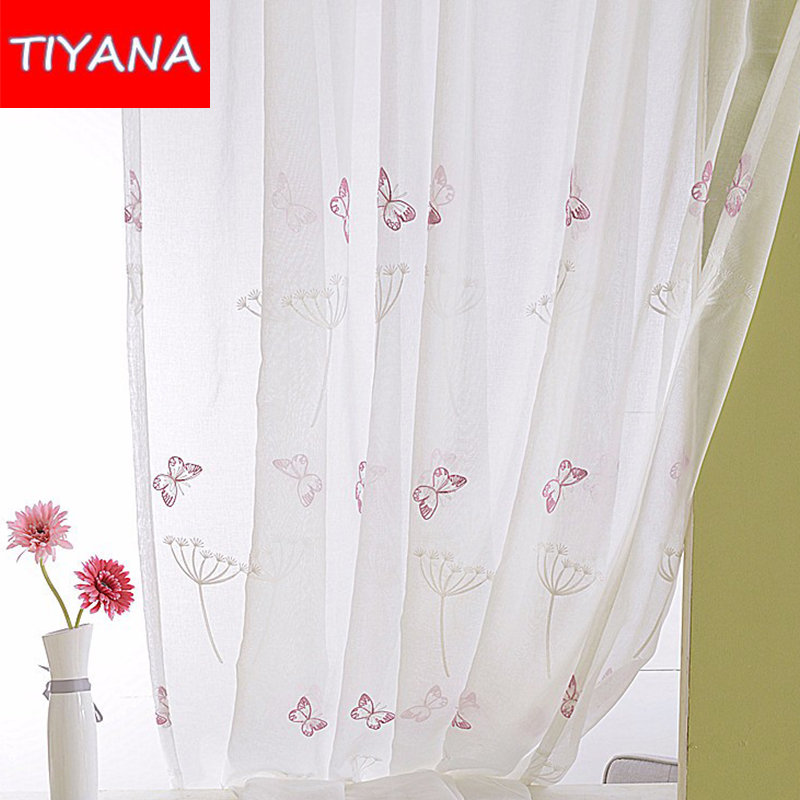 Pink Butterfly Window Sheer Curtains For Living Room