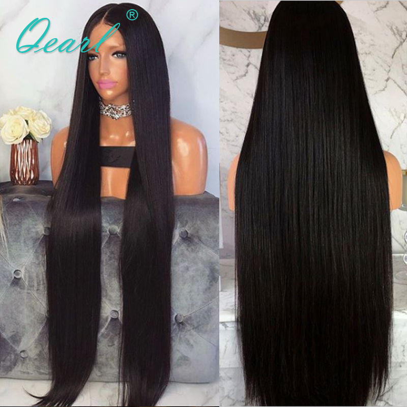 """Image 4 - Peruvian Remy Hair Lace Front Wig Super Long 24""""26""""28""""30""""32"""" Thickest Density Silky Straight Human Hair Middle Part 13x4 QearlHuman Hair Lace Wigs   -"""