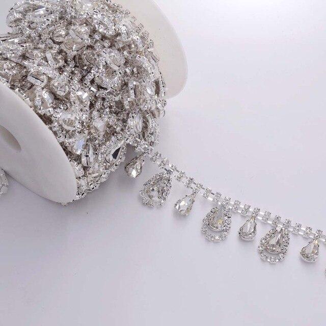DIY 5Yards Tassel Waterdrop Strass Rhinestones Trim Sewing Craft Bridal  Dress belt Decoration Silver plated Rhinestone 5a878e20e054
