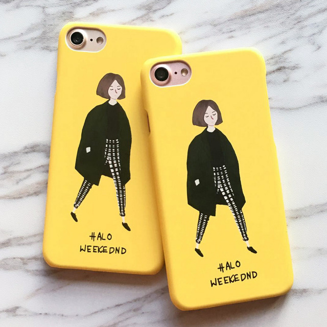 info for a541b ffaa6 US $2.49 |LACK Fashion Cute Girl Case For iphone 7 Case For iphone7 7 Plus  Back Cover Lovely Cartoon Yellow Hard Phone Cases Capa Funda-in ...