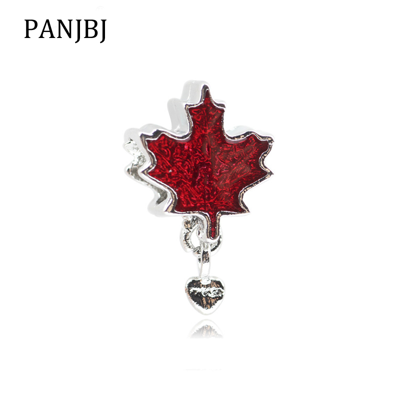 New Free Shipping Silver Plated Bead Alloy Maple Leaf