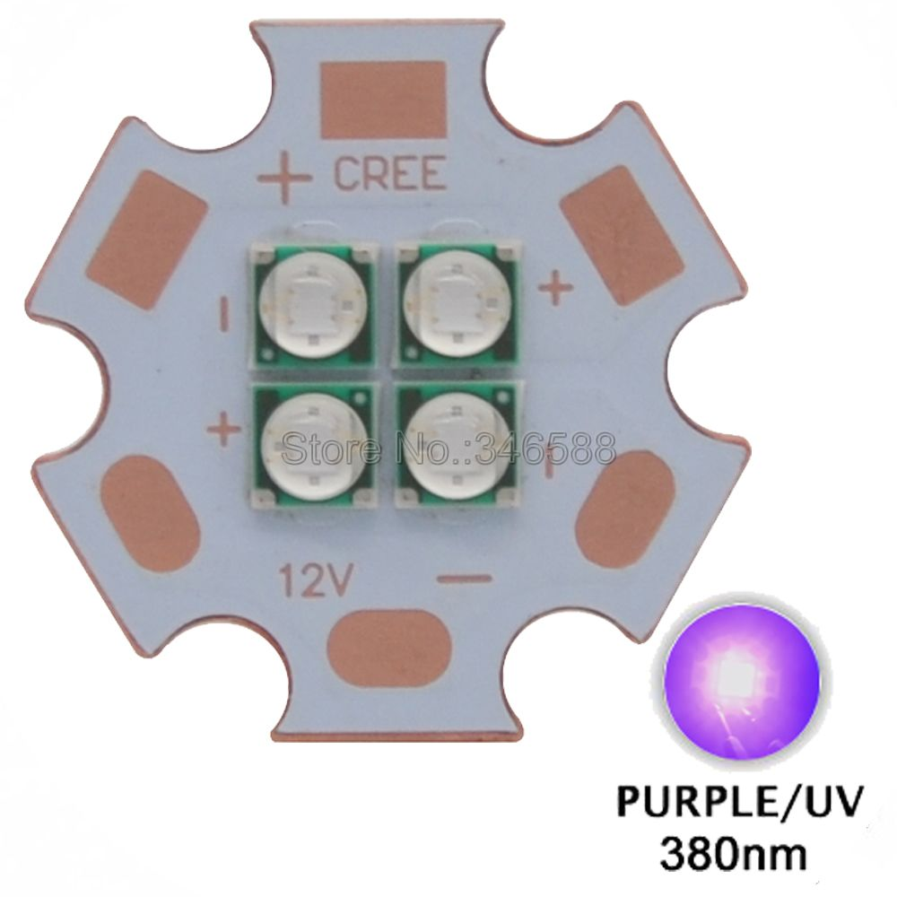 2pcs/lot! High Power 12W Epileds 3535 <font><b>380NM</b></font> <font><b>UV</b></font> Purple <font><b>Led</b></font> Emitter Lamp Light 7V 1400mA 14V 700mA 4Leds On 20MM Copper PCB Board