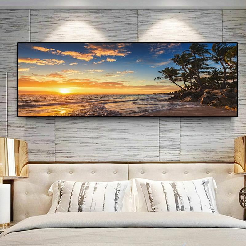 Gün batımı Doğal Deniz Plaj Hindistan Cevizi Hurma Panorama Manzara Tuval Boyama Posterler ve Baskılar Duvar sanat resmi Oturma Odası için