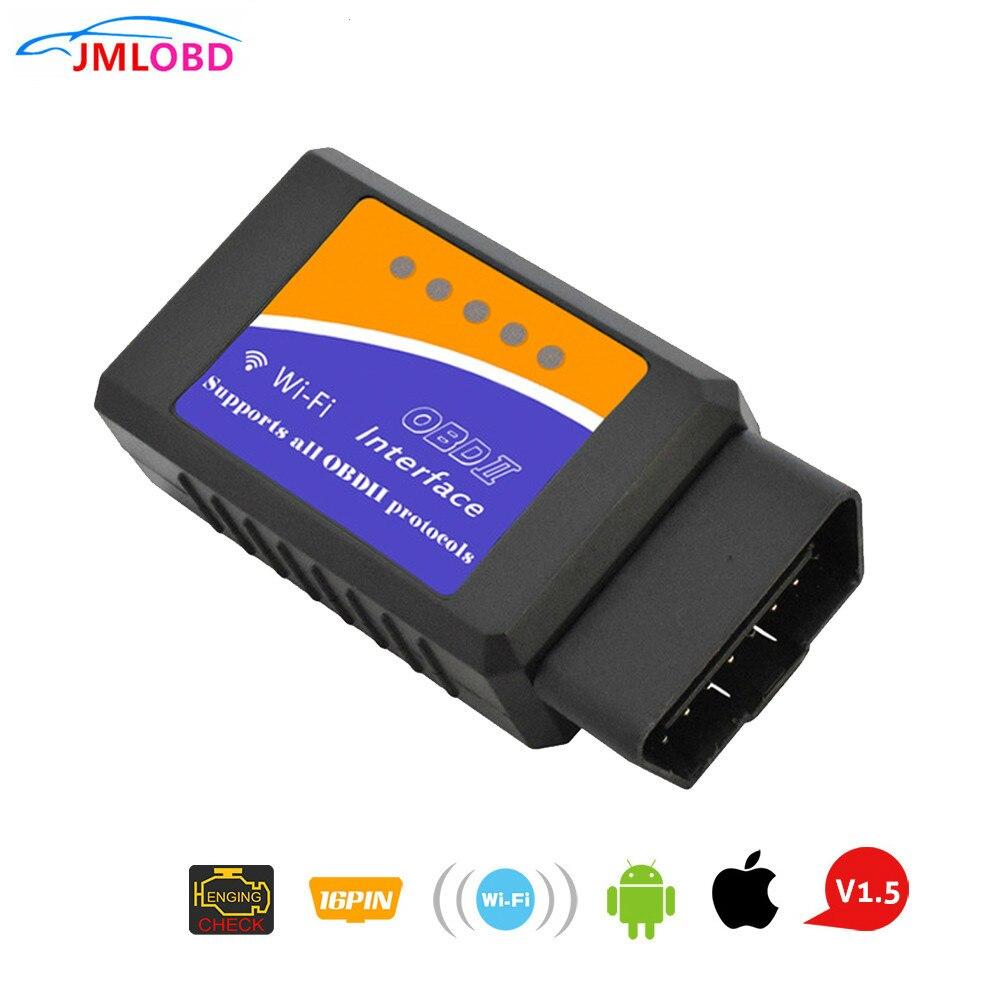 Super ELM327 WIFI OBD2 WIFI ELM327 V 1,5 escáner para iPhone, IOS, Auto OBDII herramienta de escaneado OBD 2 ODB II ELM 327 V1.5 Wi-Fi ODB2 Nuevo V1.5 Elm327 adaptador Bluetooth Obd2 Elm 327 V 1,5 escáner de diagnóstico automático para Android Elm-327 Obd 2 ii herramienta de diagnóstico de coche