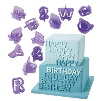 40 Pcs Alphabet Letter Number Fondant Cake Biscuit Baking Mould Cookie Cutters and  stamps