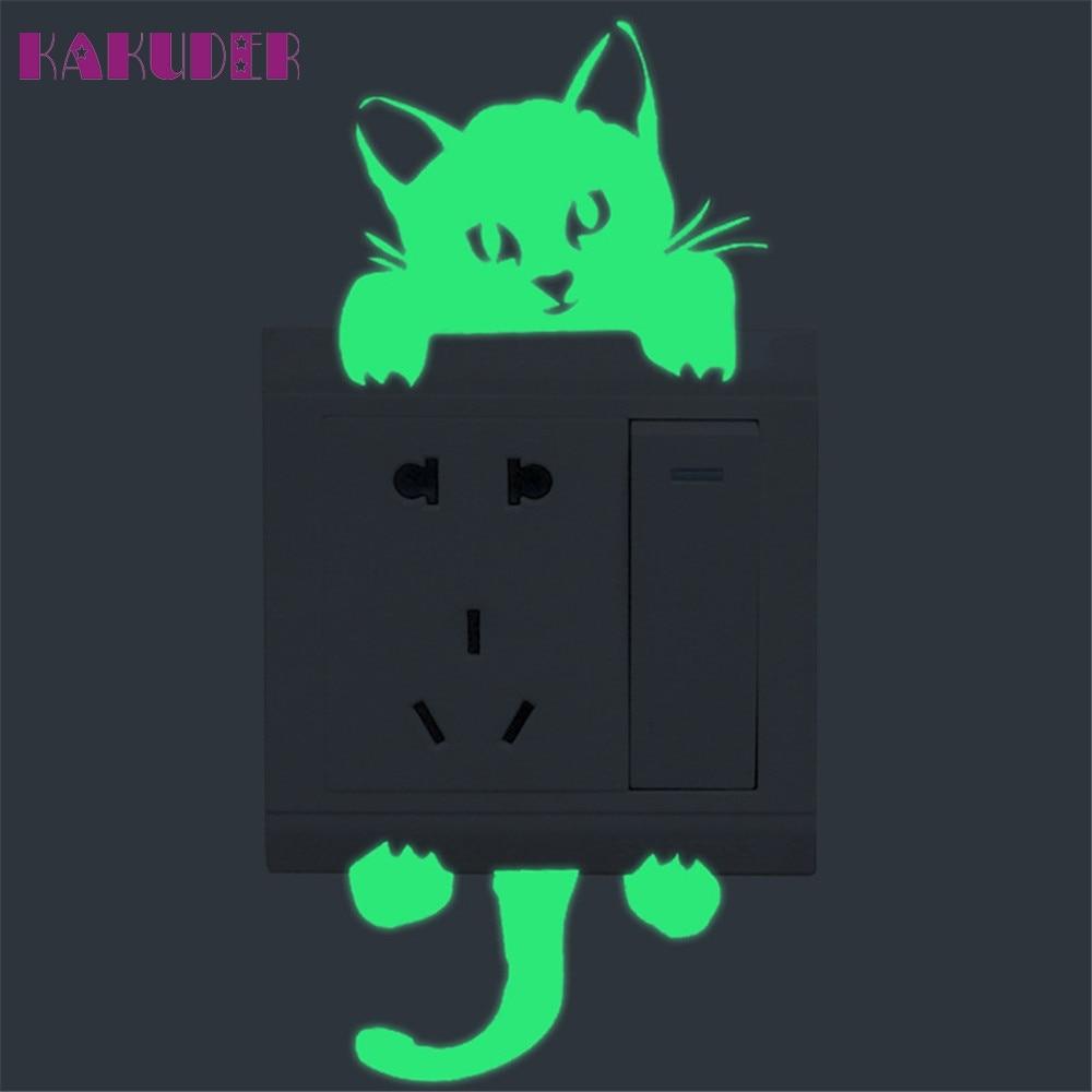 KAKUDER Cute Creative Kitten Cat Luminous Noctilucent Glow Switch Sticker Home decor for kids room u70317 LE2
