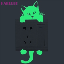 KAKUDER Cute Creative Kitten Cat Luminous Noctilucent Glow Switch Sticker Home decor for kids room u70317   LE2