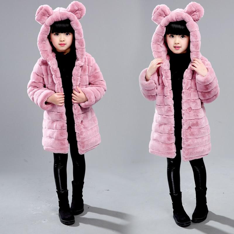 Winter Warm Fleece Baby Girls Coat With Bunny Ear Faux Fur Hoodie Jacket Outwear