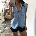 Hot Sale 2016 Verão Mulheres Blusas Tops Blusas Lapela Botões Do Pescoço Manga Curta Camisas Do Vintage Sexy Azul Demin Plus Size