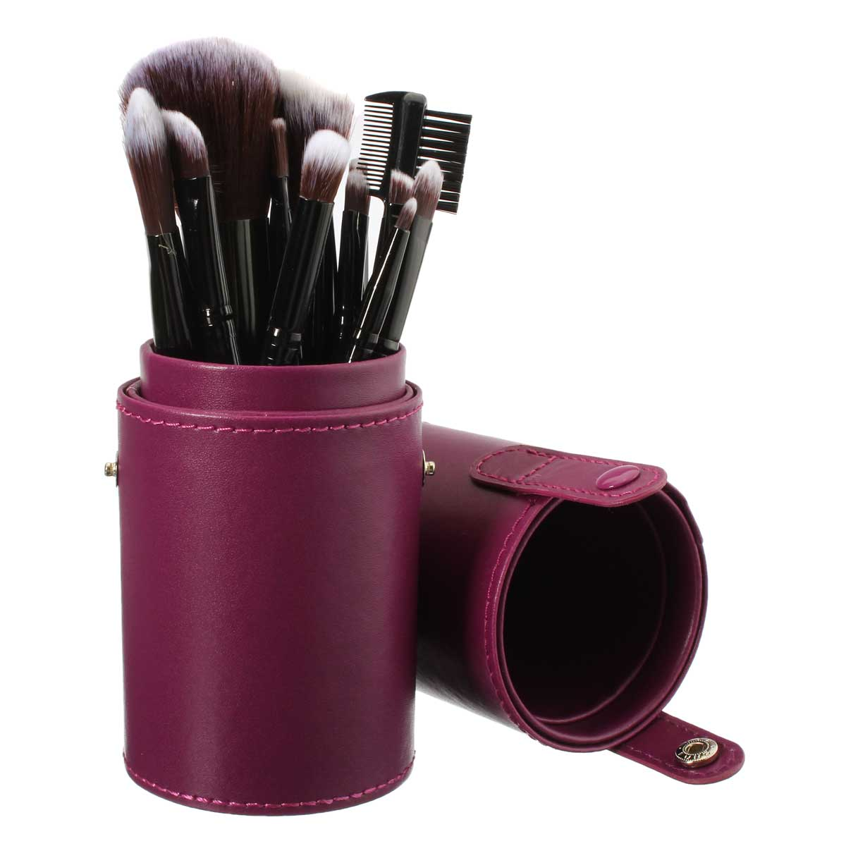 New Empty Portable Makeup Brush Round Pen Holder Cosmetic Tool Pu