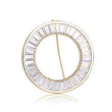 Luxury Round Brooches For Women Zircon Hijab Scarf Clips Coat Spille Sweater Broschen Dress Hat Gold Silver Color Pins For Lover