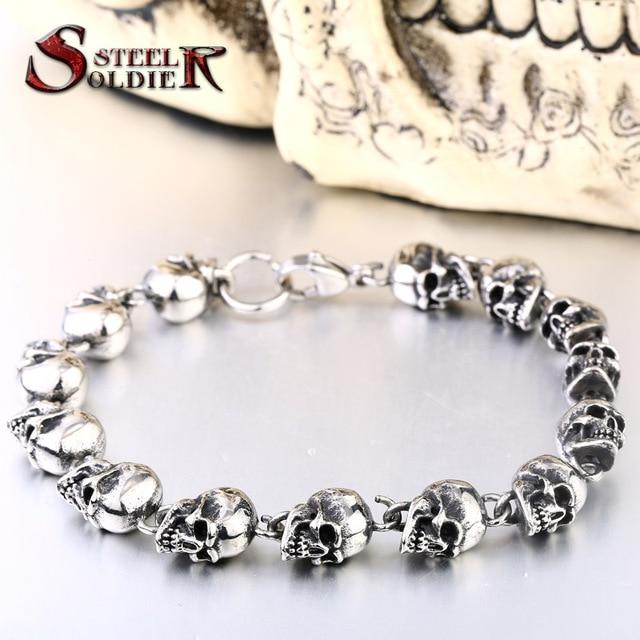Stainless steel new design men punk skull chain bracelet men fashion stainless steel charm bracelet jewelry
