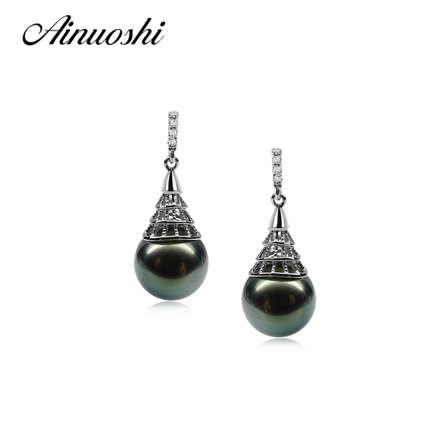 Ainuoshi 925 Sterling Silver Womendrop Earrings South Sea Naural Tahiti Black Pearl 9 5 10mm Round