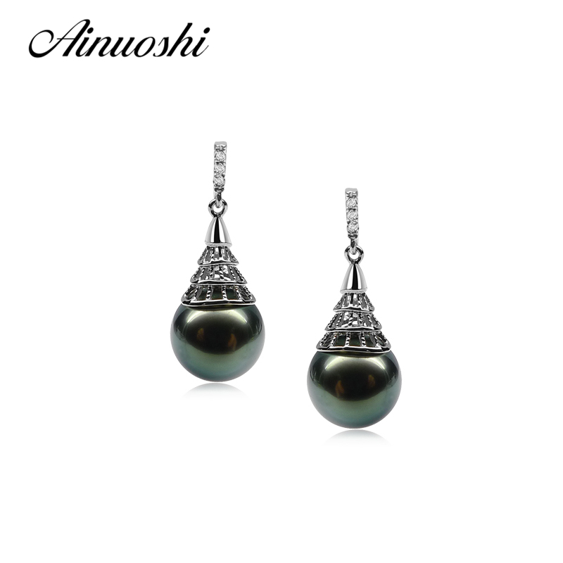 AINUOSHI 925 Sterling Silver WomenDrop Earrings South Sea Naural Tahiti Black Pearl 9.5 10mm Round Pearl Lady Drop Earrings Gift