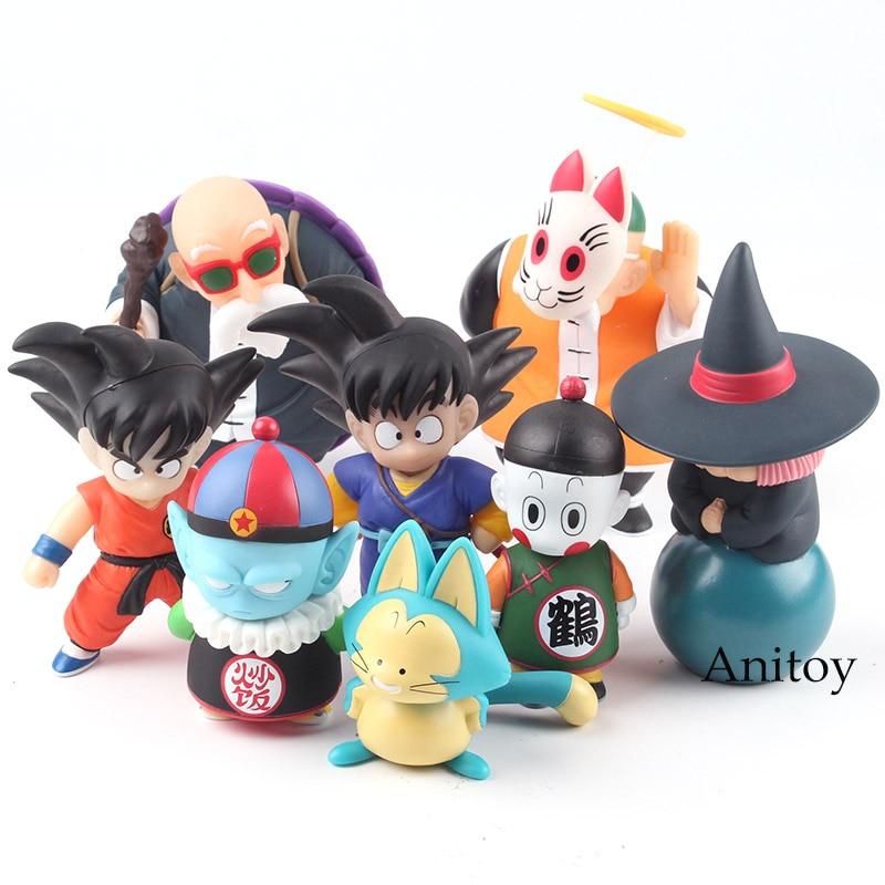 Dragon Ball Figure Set Son Goku Gohan Chiaotzu Puar Pilaf Uranai Baba Master Roshi Figure PVC Collectible Model Toy 4pcs/set все цены
