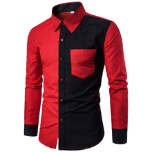 With Pockets Camisa Masculina Patchwork Brand Tuxedo Shirts Men Long Sleeve Office Work Formal Shirt Red Black Mens Dress Shirts