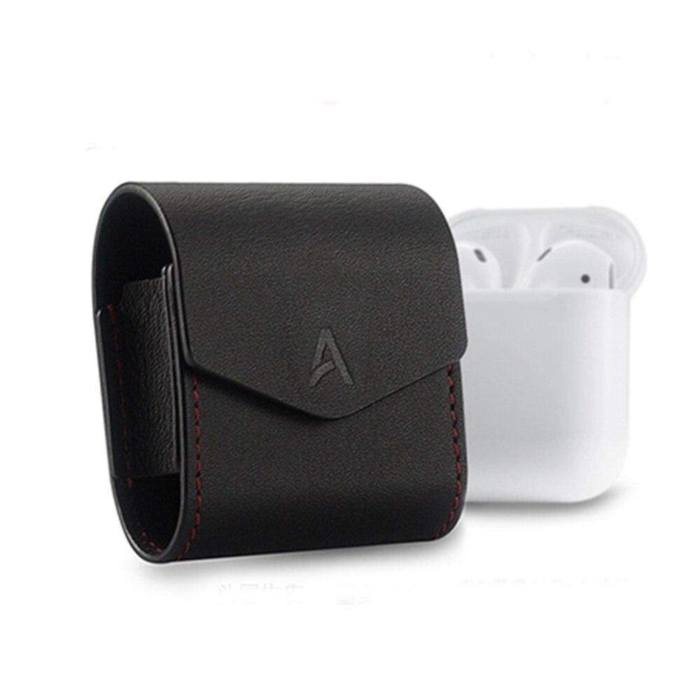 imágenes para Nuevo Protector de Micro Fibra de La Manga Bolsa de la Cubierta Protectora de Cuero Real Correa de Auriculares Accesorios para Apple Airpods Aire Vainas