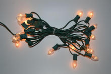 Incandescent Type C7 Light String Green or White SPT-1 Cable 20 sockets with 20 PCs Bulb Fused Plug End to End Connection