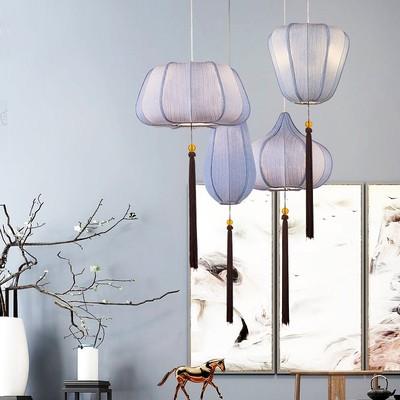 Chinese Style Vintage Pendant Lights Fabric Lantern Lamp Led Retro Hanging Light Fixtures Dining Room Restaurant Home Decor E27