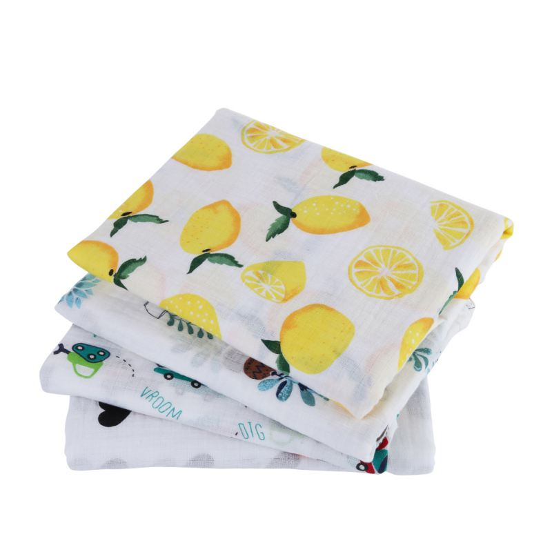 Muslin Blankets Baby Cotton Blankets Cartoon Patterns Multi-use Newborn Swaddle Print Flowers Infant Gauze Towel Baby