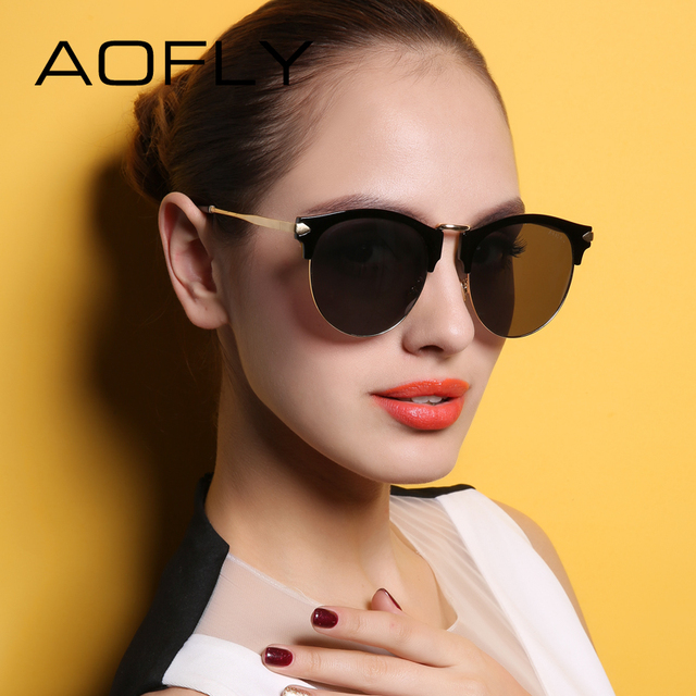 AOFLY 2017 Luxury Cat Eye Sun Glasses Women Brand Designer Style Reflective Revo Lens Alloy Frame Goggle Female UV400 AF79146