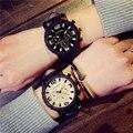 Мода 4.5 см Большой Циферблат Противоударный Армии Кожаный Кварцевые Мужские Мале Спортивные Часы Wristwacthes Подарок