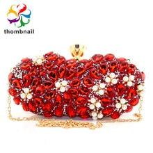 ルビーレッドダイヤモンドの花クラッチミノディエール女性クリスタルイブニング結婚式のカクテルパーティー財布とハンドバッグ