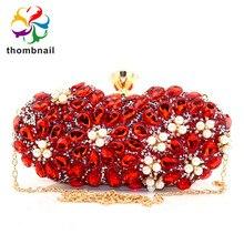 Rubis rouge diamant fleur pochette Minaudiere femmes cristal sacs de soirée mariage Cocktail fête sacs à main et sacs à main