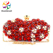 Ruby Red Diamond Flower Clutch Minaudiere Women Crystal Evening Bags Wedding Cocktail Party Purses and Handbags