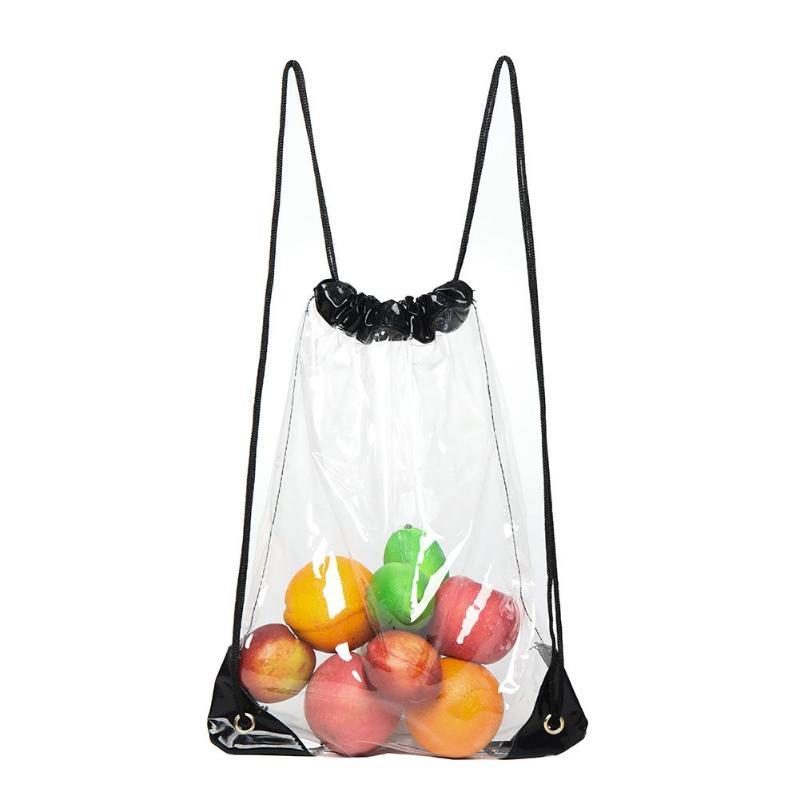 Transparent Storage Backpacks Women Large Capacity PVC Knapsack Portable Clear Drawstring Shopping Bag Rucksack Bolsas Mochila