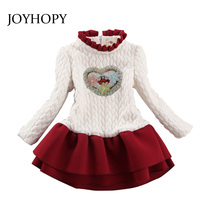 JOYHOPY Kids 2017 Thick Winter Girls Dress Long Sleeve Dot Christmas Princess Dresses Infantil Dress Girl