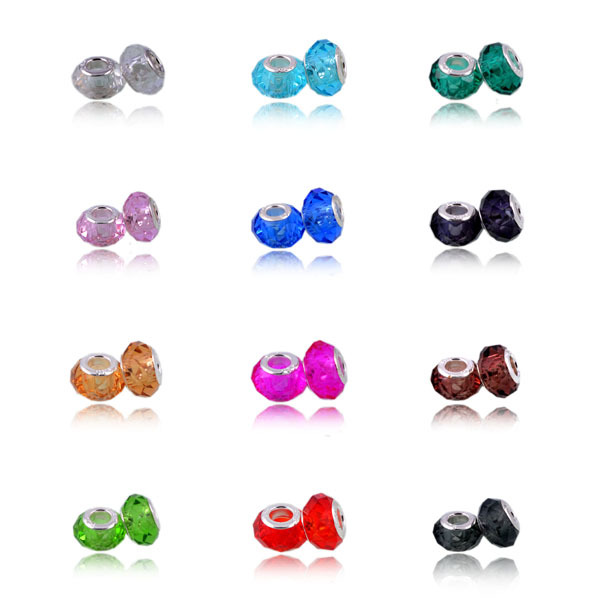 12 Colors DIY Glass Beads Fit Pandora Charms Bracelets Necklaces 14*8*5mm European Beads jewelry making charms