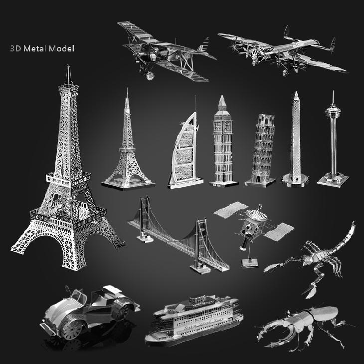 10PCS/lot 38 Kinds 3D DIY metal puzzle for choice laser cutting puzzle jigsaw model building model kits boat aircraft model